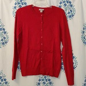 Bright Red Long Sleeve Loft Cardigan Size M